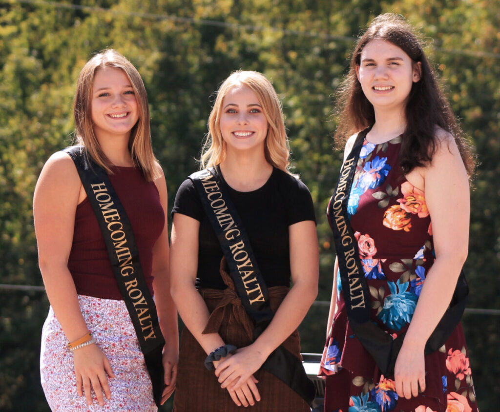 Pictured from left: This year's junior attendant is Lili Neely. The sophomore attendant is Carlie O'Neil, and the freshman attendant is Gretchen Foster.