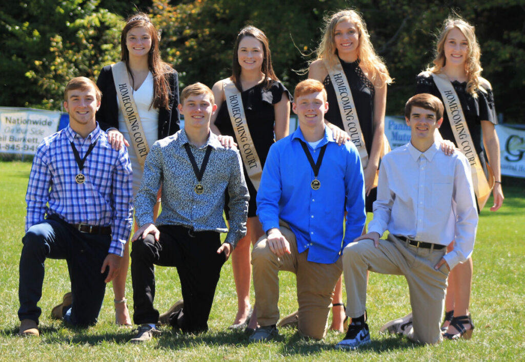 The 2019 CHS Homecoming candidates include: Front row kneeling from left: CHS Homecoming King Candidates Garrett Scott, Noah Neely, Jessop Broughton and Zane Clutter. Back row standing from left: CHS Homecoming Queen Candidates Emily Roskelly, Kimmie Simms, Carson Howard and Jordan Dotson.