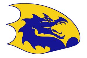 The Cameron High School logo: a gold D with the blue dragon on the inside