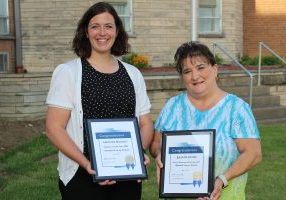 From left: Julia Clayton (Service Personnel Member of the Year) and Heather Haught (Teacher of the Year).