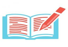 A blue book with a red pencil with red lines representing words on the white pages.